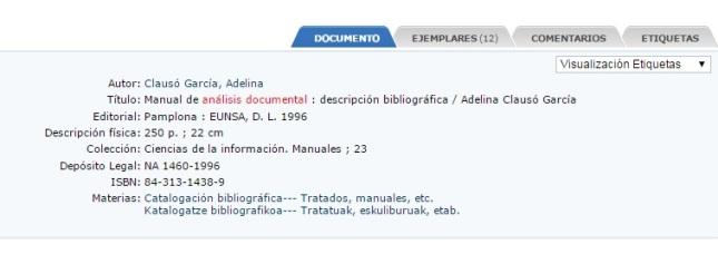 Ejemplo de Registro Bibliográfico en el formato de etiquetas