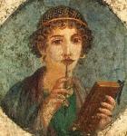 Imagen de una mujer romana con utiles de escritura