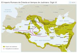 Mapa del Imperio Bizantino en el siglo VI, durante el mandato de Justiniano