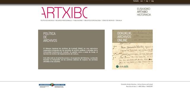 Web del Sistema Nacional de Archivos de Euskadi
