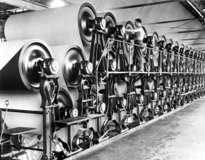 Maquina para la fabricación continua de papel. Fuente: Florida Memory.