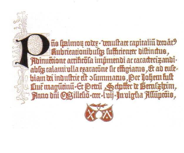 Colofon del Salterio de Maguncia, año 1457