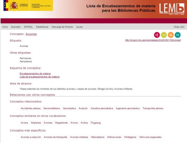 """Ejemplo del termino """"aviones"""" en la Lista de Encabezamientos de Materia para Bibliotecas Publicas"""
