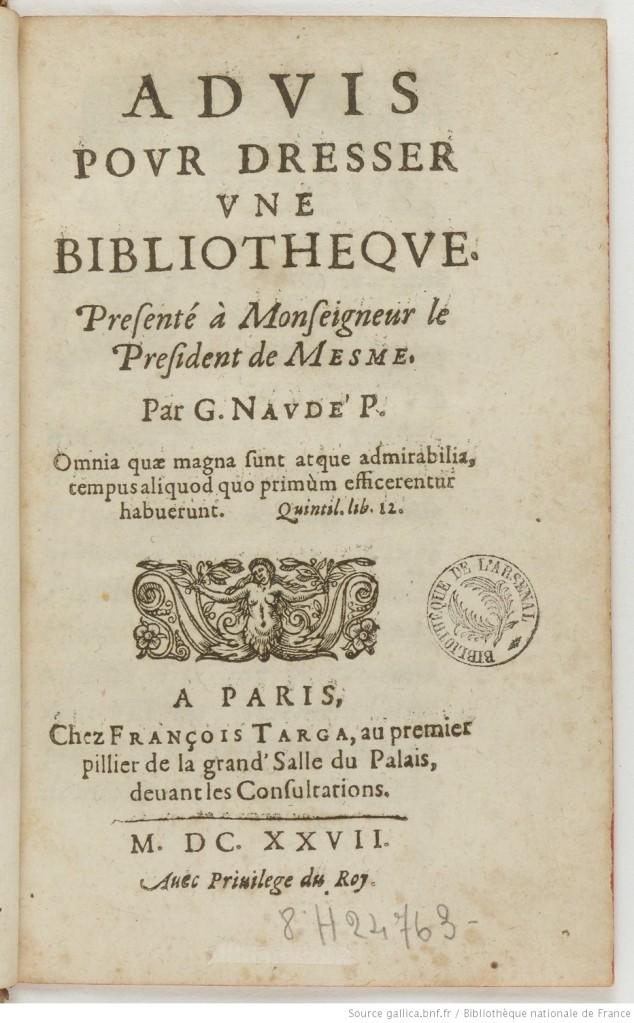 Tratado de biblioteconomia escrito por Gabriel Naude