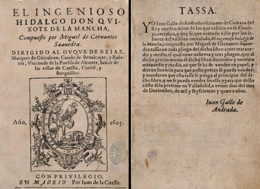 El Quijote, siglo XVII, impreso por Juan de la Cuesta