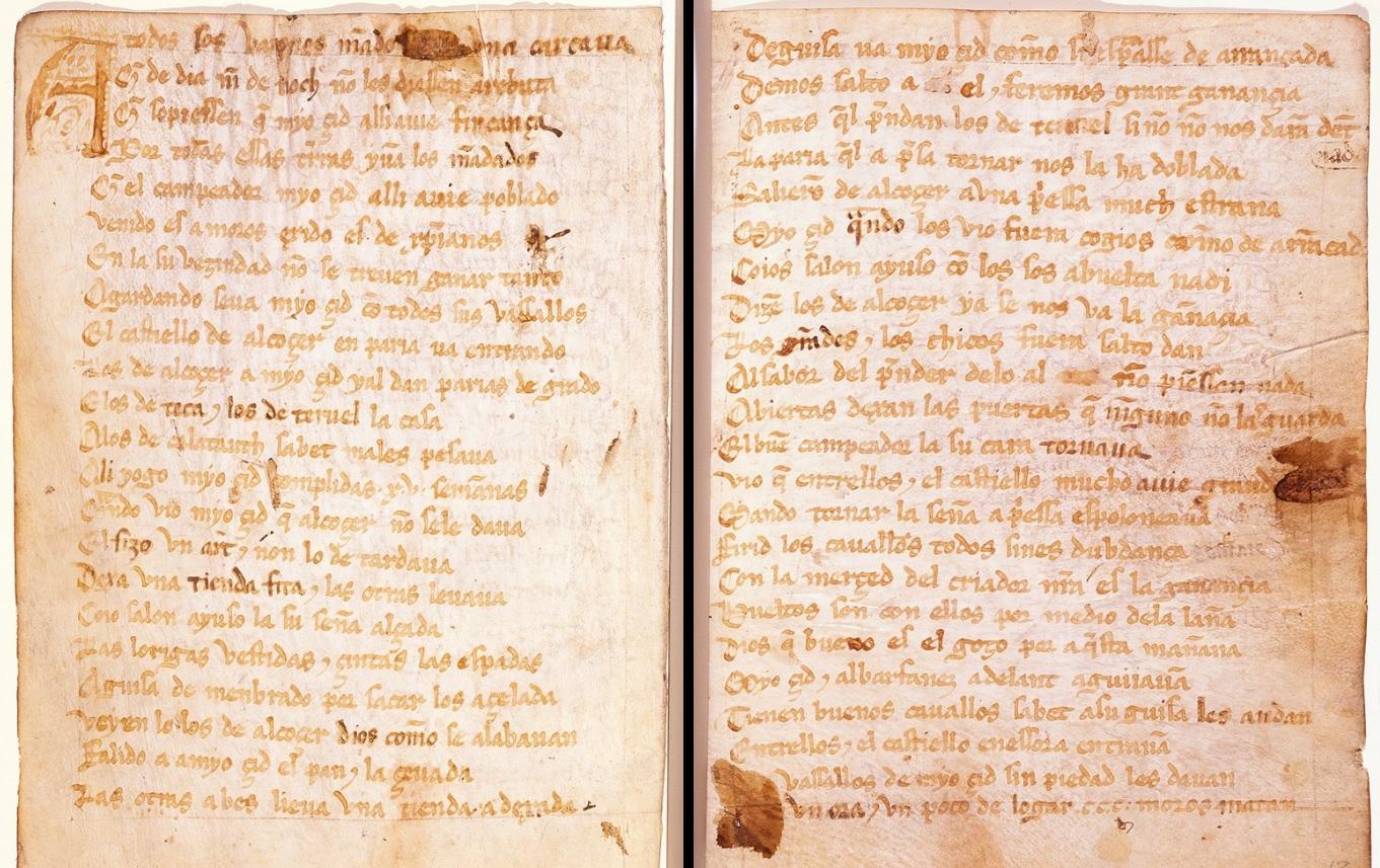 Cantar de Mio Cid disponible online en la Biblioteca Digital Mundial.