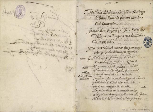 Transcripcion del Cantar de Mio Cid realizada por Ulibarri